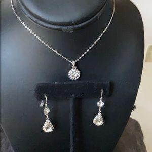 Jewelry - Silver 3pc Crystal Teardrop Necklace earring Set